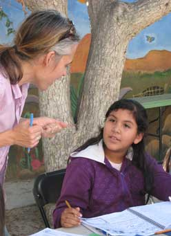 Volunteer teachers help students learn english
