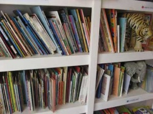 A large selection of childrens books in English and Spanish