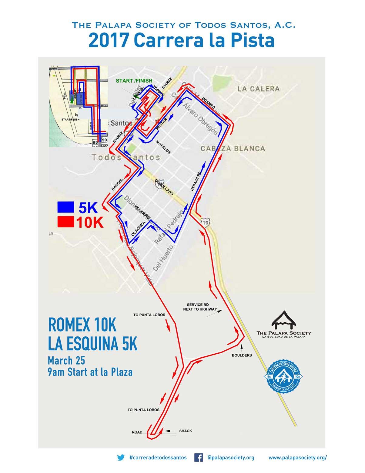 Carrera 5k/10k Course Map Todos Santos